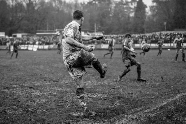 Muddy soccer pitch