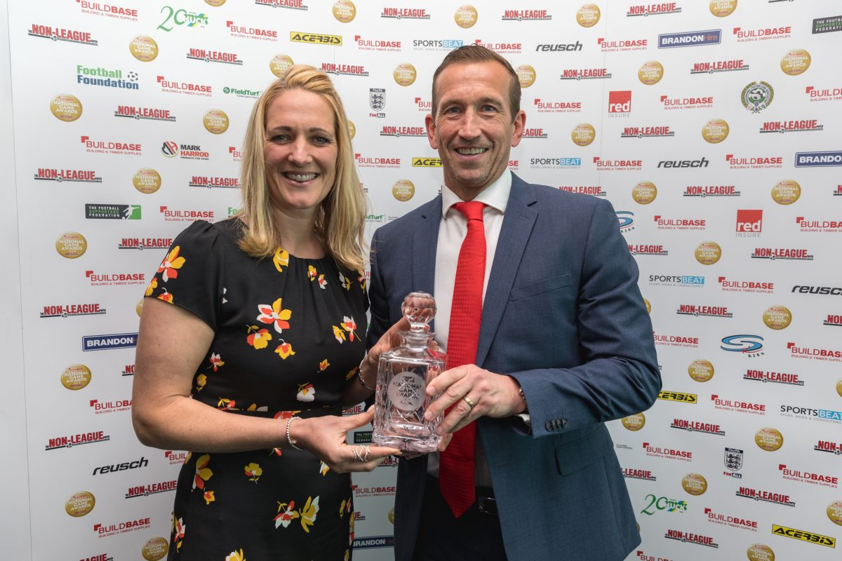 Leyton Orient manager Justin Edinburgh with his National Game Award 2019 at Stamford Bridge