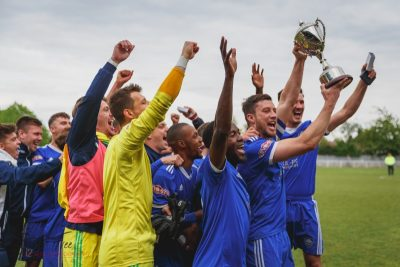 Lifting the Southern League playoff trophy